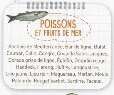 Poissons et fruits de mer d'automne